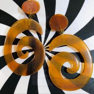 Vintage hand carved horn large pop art earrings